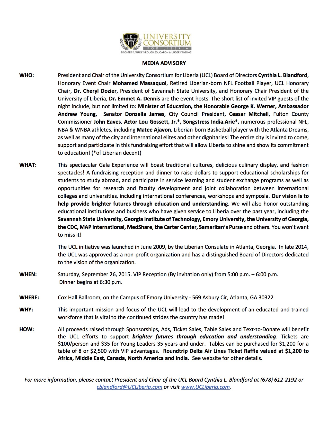 MEDIA ADVISORY UNIVERSITY CONSORTIUM FOR LIBERIA