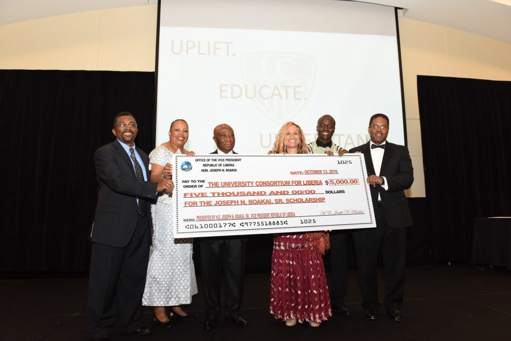 UCL receives $5,000 donation from former VP of Liberia Joseph N. Boakai to support the UCL Scholarship Program. From right to left Dr. B.K. Robertson, Dr. Judith Little, Vice President, Fundraising, VP Boakai, UCL President Blandford, Saki Golafale, UCL Finance Chair and Dr. David Smith, UCL Board member.