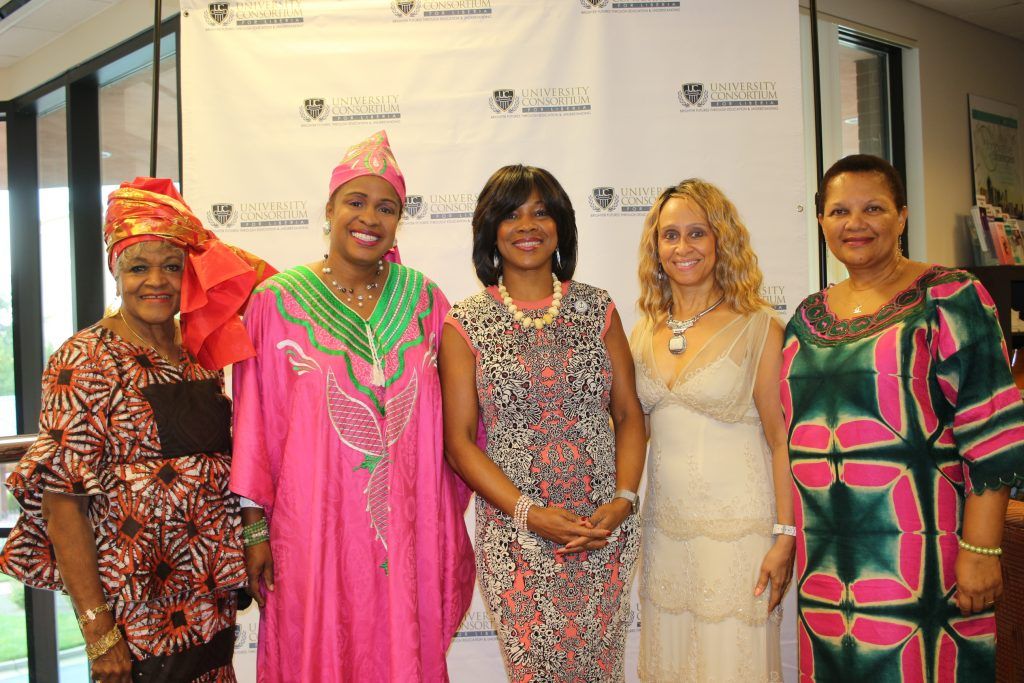 Former East Point Mayor Patsy Jo Hilliard, Mistress of Ceremonies Aungelique Weeks, Emmy Award Winning Reporter Channel 5 Fox News, President Valerie Montgomery Rice, Morehouse School of Medicine, Cynthia Blandford, President UCL and Savannah State University Dr. Cheryl Davenport-Dozier at UCL Scholarship Dinner at Morehouse School of Medicine