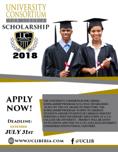 University Consortium for Liberia scholarship deadline extended to July 31st