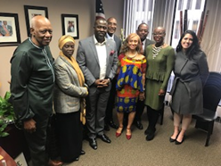 Dr. Joe Beasley, Hon. Aisha Musa, Consul General Nigeria, Paula Fares-Harvey, National Black MBAA, the Mayor's Office of International Affairs and others were in attendance to greet Hon. Shoniyin