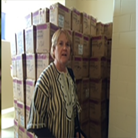 Terry Clay at SSU preparing a shipment of textbooks and other educational materials to be sent to UL and AMEU on behalf of the partnership